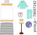 ベッドやパジャマのイラストセット、寝室 78697282