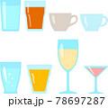 グラスやカップに入った飲み物のイラストセット 78697287
