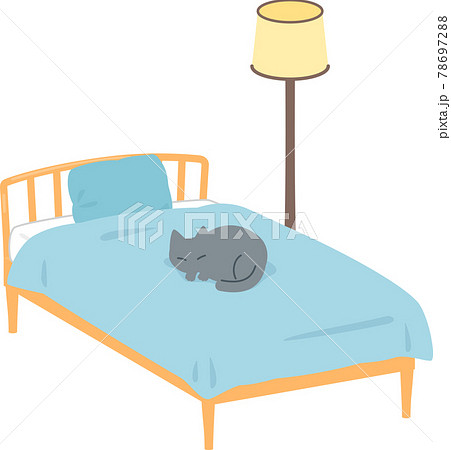 上で猫が寝ているベッド 78697288