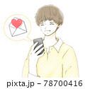 スマホに届いた嬉しいメールに喜ぶ笑顔の若い男性 78700416
