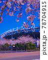 東京スタジアムと満開の桜 78704915