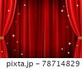 高級感のあるキラキラしたレッドカーテン背景(ベクターあり) 78714829