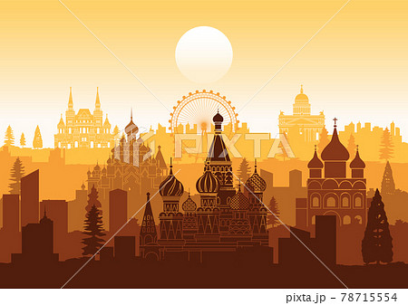 Russia famous landmarks silhouette style 78715554