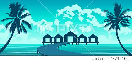 Silhouette art of paradise sea of Maldives 78715562