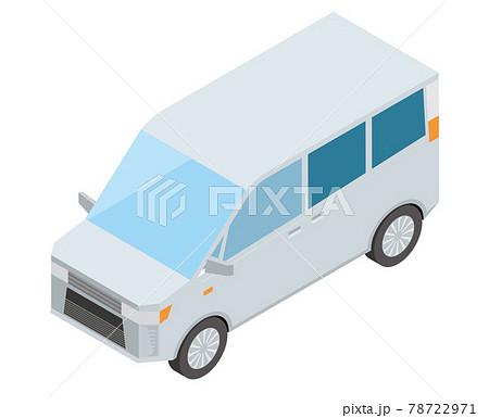 ミニバン アイソメトリックスの自動車のイラスト 3D立体イラスト 白バック ベクターデータ 78722971
