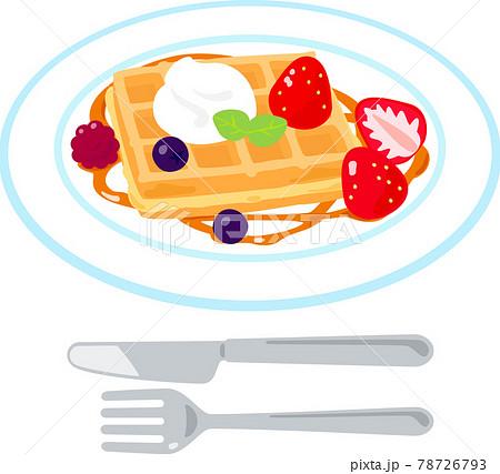 イチゴやクリームを添えたワッフル 78726793