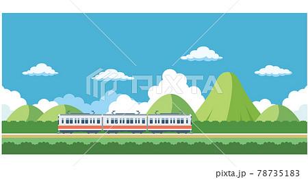 電車と山のイラスト素材 78735183