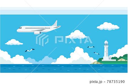 飛行機と海と灯台のイラスト素材 78735190