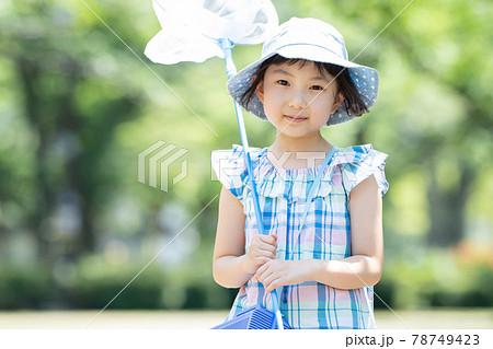 子供 夏休み 虫取り 女の子 78749423