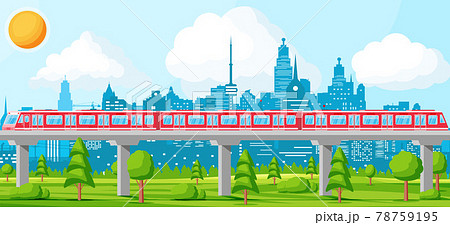 Skytrain and Landscape with Cityscape. 78759195
