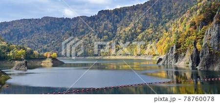 ちょうど見頃の紅葉に包まれた豊平峡ダム湖の情景@北海道 78760078