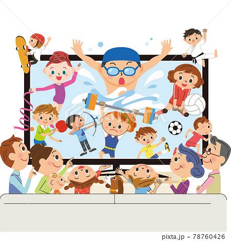 三世代家族でテレビでスポーツ鑑賞 78760426
