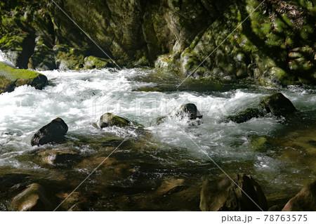 木漏れ日が岩に美しい模様をつくる赤目四十八滝の清流 78763575