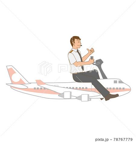 旅客機を操縦するパイロット 78767779