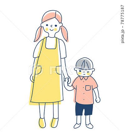 手を繋いで立っているお姉ちゃんと弟 78775187