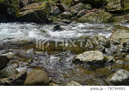 岩場を勢いよく流れる赤目四十八渓流渓流 78794661
