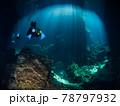 太陽光が射すセノーテを潜るスクーバダイバー達 (プラヤ・デル・カルメン、メキシコ) 78797932