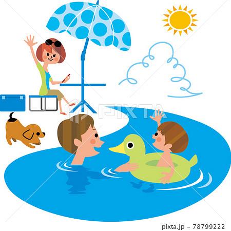 家族で水遊び 78799222