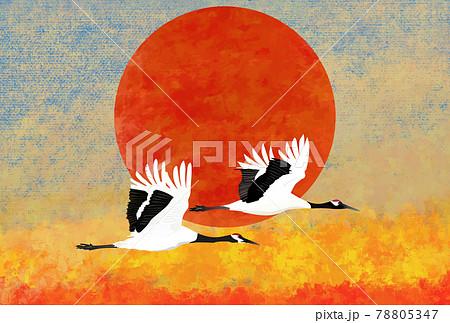 朝日と丹頂鶴のペア 78805347