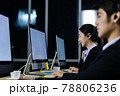 Asian young woman working overtime with her colleague team. 78806236