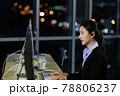 Asian young woman working overtime late at night in call center office. 78806237