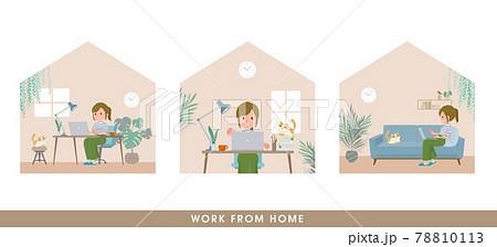在宅で仕事をしているカジュアルファッション女性のセット 78810113