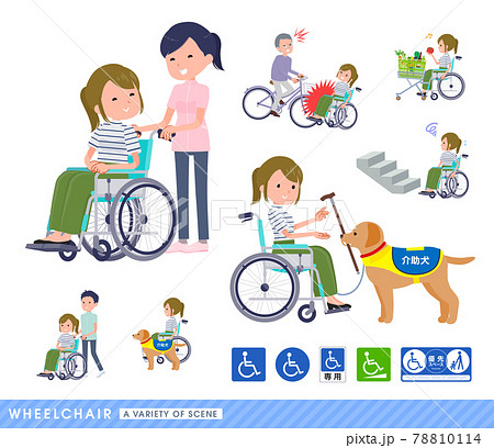 車椅子に乗るカジュアルファッション女性のセット 78810114