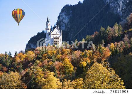 ノイシュバンシュタイン城上空を飛行するバルーン 78812903