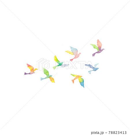 虹色の鳥の群れ 78823413