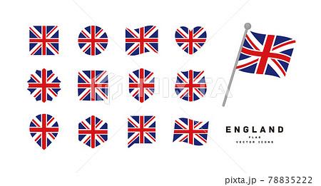 イギリスの国旗 色々な形のアイコンセット ベクターイラスト 78835222