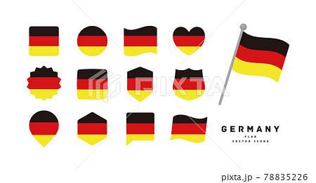 ドイツの国旗 色々な形のアイコンセット ベクターイラスト 78835226