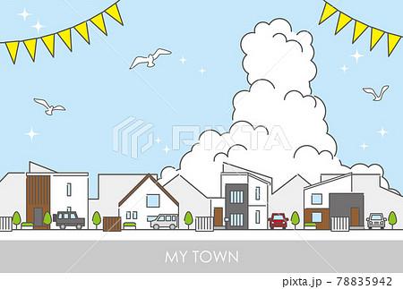 郊外の住宅街をイメージした街並みのイラスト素材 78835942