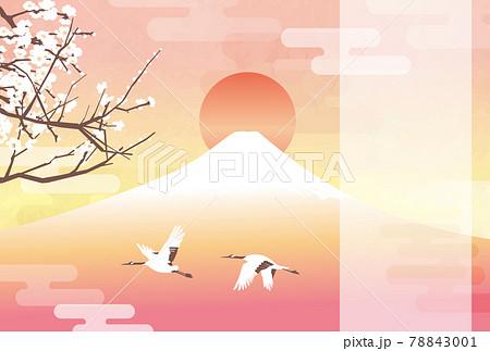 初日の出の富士と白梅(赤富士) 78843001