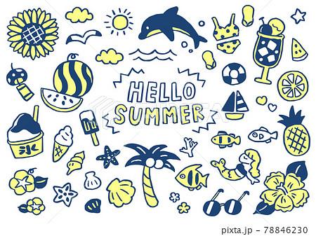 手描き風シンプルかわいい夏の素材セット 78846230