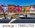Beautiful Multi Colored Houses and Canal with Boats in Burano Island - Venice Italy 78851750