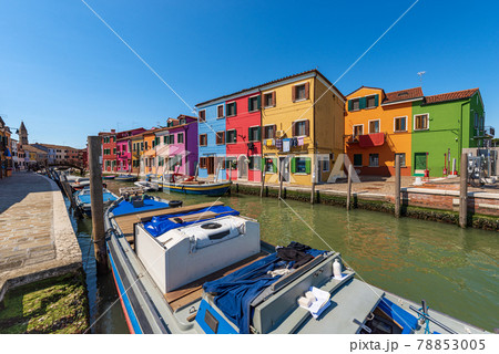 Beautiful Multi Colored Houses and Canal with Boats in Burano Island - Venice Italy 78853005