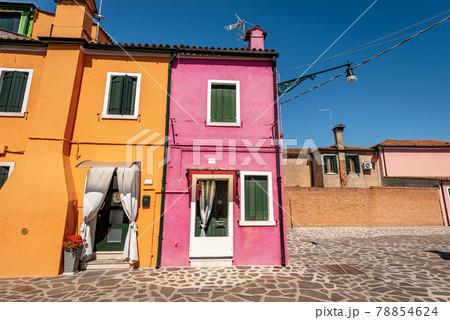 Beautiful Multi Colored Houses in Burano Island - Venice Lagoon Veneto Italy 78854624