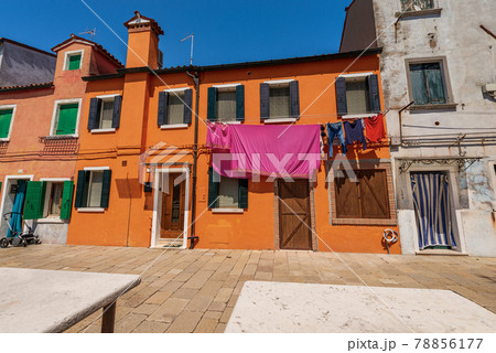 Burano island with Multi Colored Houses in Venetian Lagoon Veneto Italy 78856177