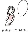 電話をする女性のイラストと吹き出し 78861766