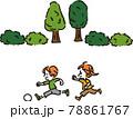 公園でボール遊びをする子供達のイラスト 78861767