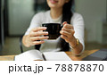 Female hands holding hot beverage cup and showing to camera 78878870