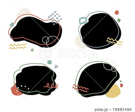 おしゃれな幾何学模様のフレーム カラフルなデザイン 背景素材 78885484