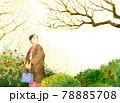 正月の日本庭園を歩く和服の女性 78885708