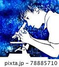 顕微鏡をのぞく少年の水彩画 78885710