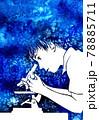 顕微鏡をのぞく少年の水彩画 78885711