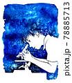 顕微鏡をのぞく少年の水彩画(余白あり) 78885713