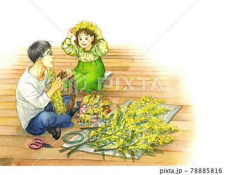 ミモザで花冠とリースを作る父親と娘 78885816