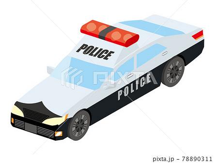 働く車 荷台がある青いトラック アイソメトリックスの自動車の立体イラスト3D 78890311