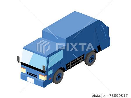 働く車 荷台がある青いトラック アイソメトリックスの自動車の立体イラスト3D 78890317