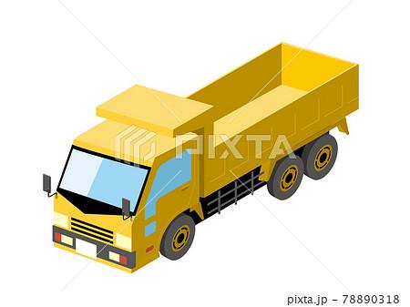 働く車 荷台がある青いトラック アイソメトリックスの自動車の立体イラスト3D 78890318